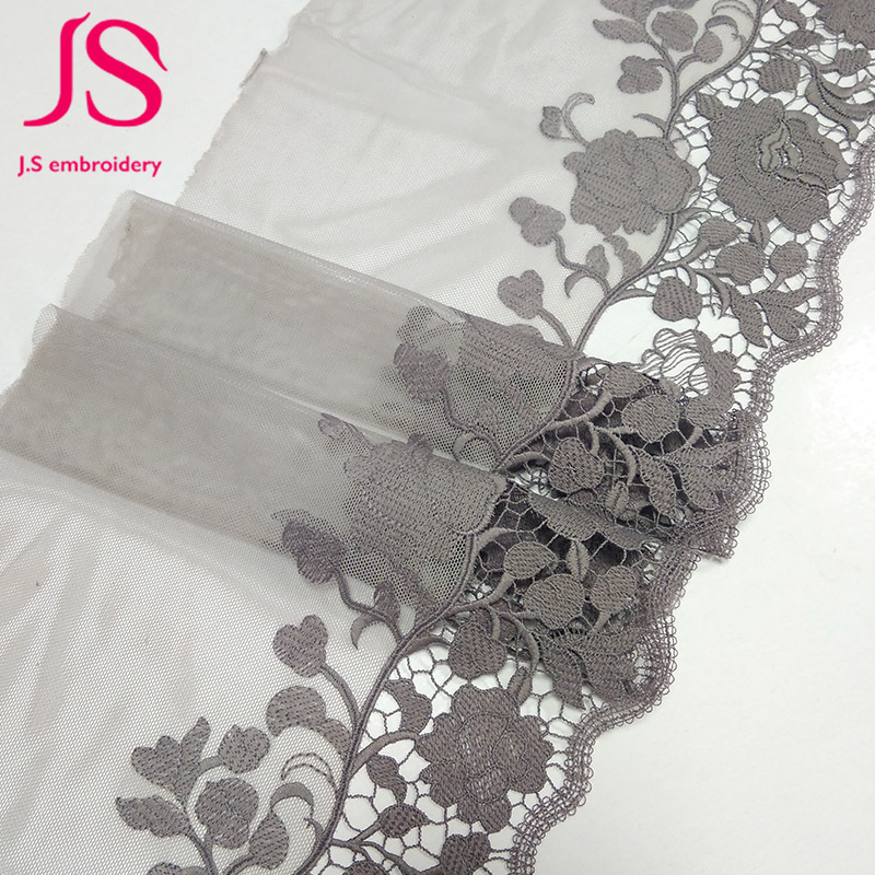 Beautiful design black embroidered organza lace trim