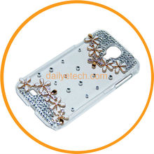 Beauty 3D Flower Gold Crystal Diamond Bling Back Cover For Samsung Galaxy S4 Phone Case from Dailyetech