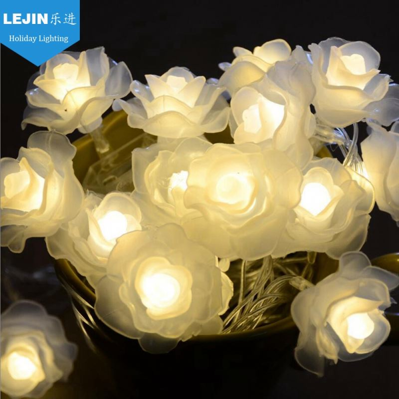 Lejin 5m 20 led rose flower connect party led string light for indoor