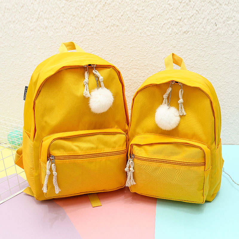 Cute Pom Pure Color Girls Backpacks Best Selling 2018 Children School Bag