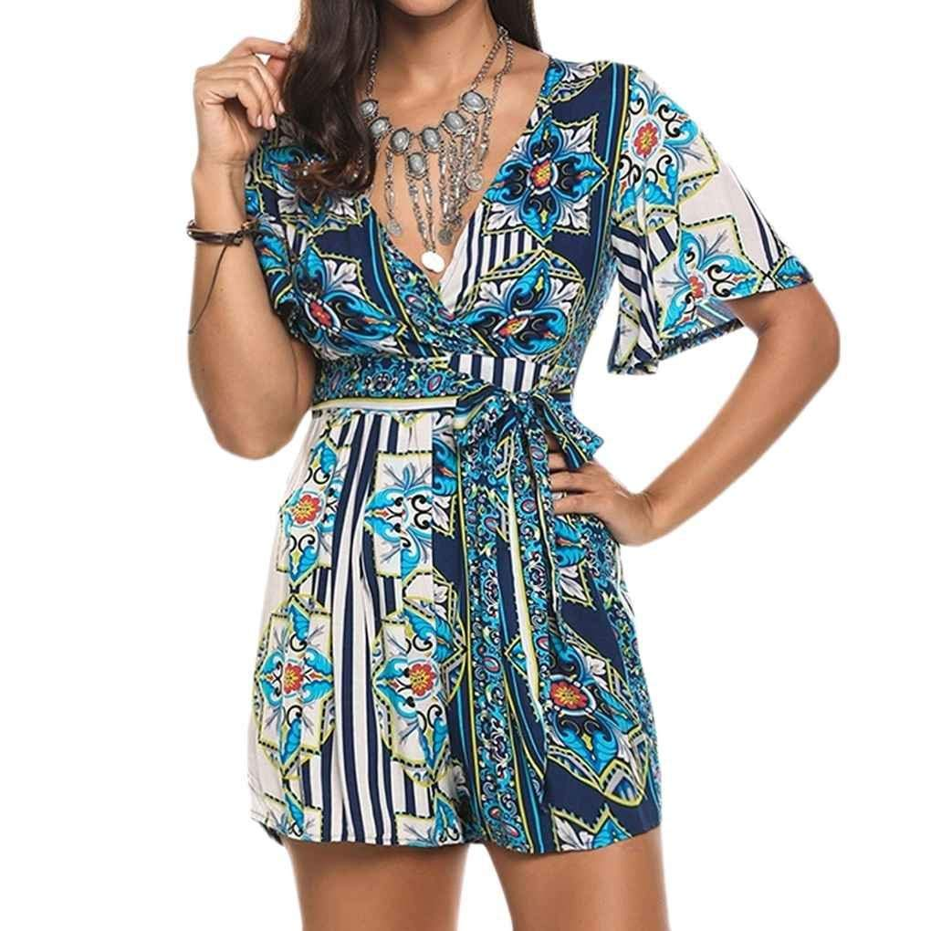3d078e107e Get Quotations · MuLuo Summer Bohemian Print Playsuits Casual V-Neck  Jumpsuits Beach Girls Rompers