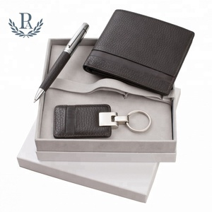 Christmas present customized gift set with wallet key holder and pen