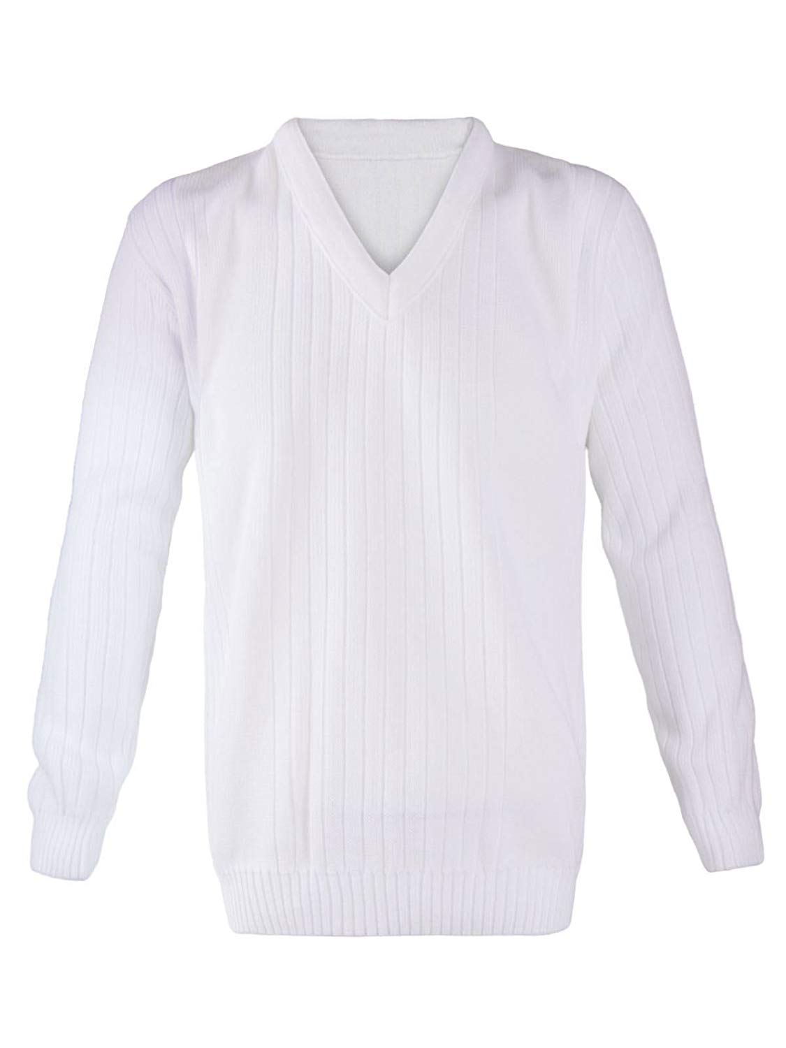 Rimi Hanger Mens Lawn Bowling Long Sleeve V Neck Knitted Jumper Adults Ribbed White Sweater S/5XL