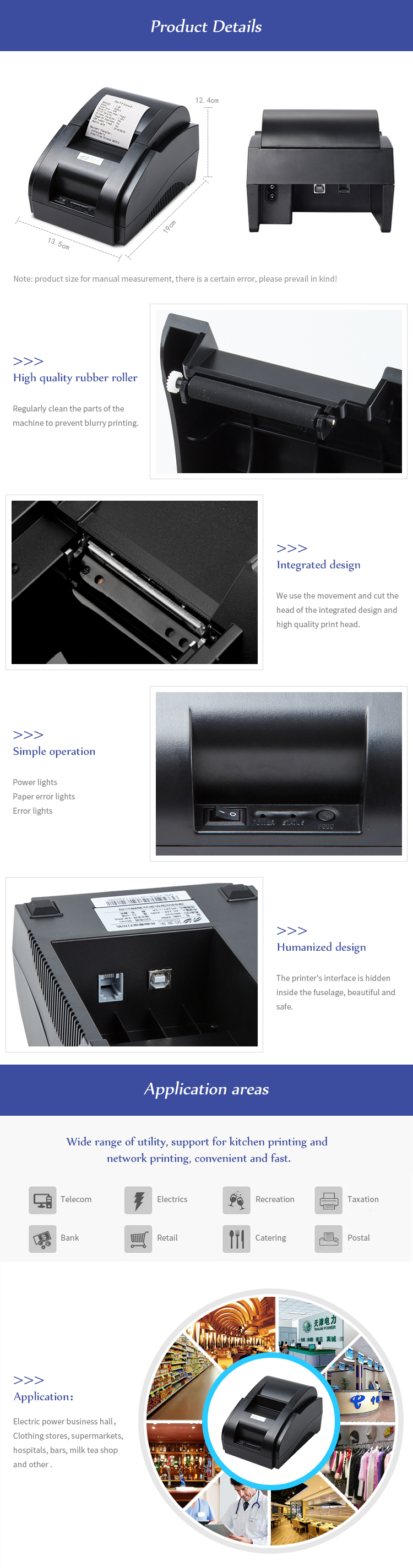 Cashier printer / Mini 58mm Thermal Receipt Printer Ticket POS label Printer USB Port Interface