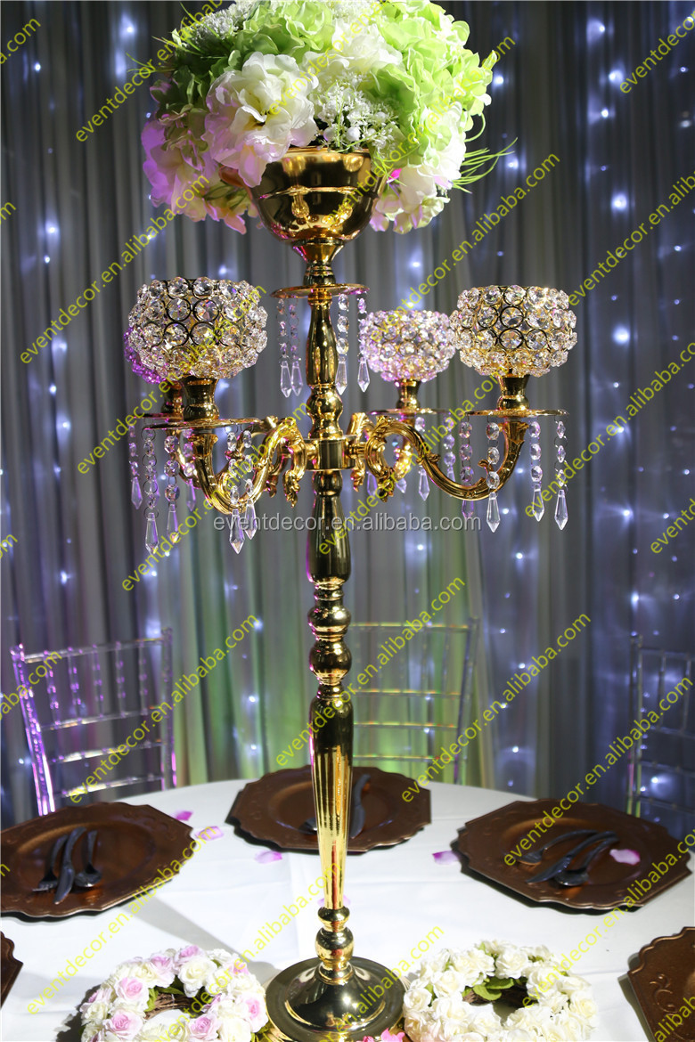Crystal Gold Candelabra Centerpieces With Flower Bowl Crystal