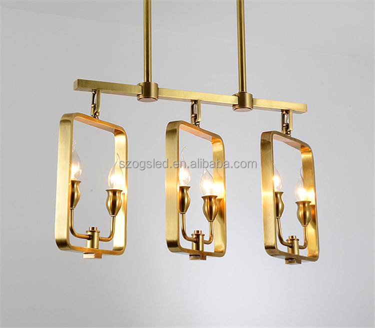 Modern Wholesaler Industry Brass Concrete Frame Hanging Chandeliers Lighting E14 Light Bulb Candle Ul Indoor Decor Pendant Lamps