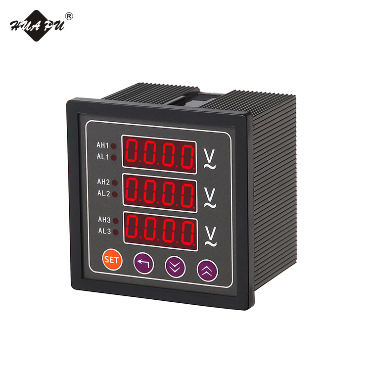 three-row LED display digital panel voltage meter three-phase electrical voltmeter 96*96mm