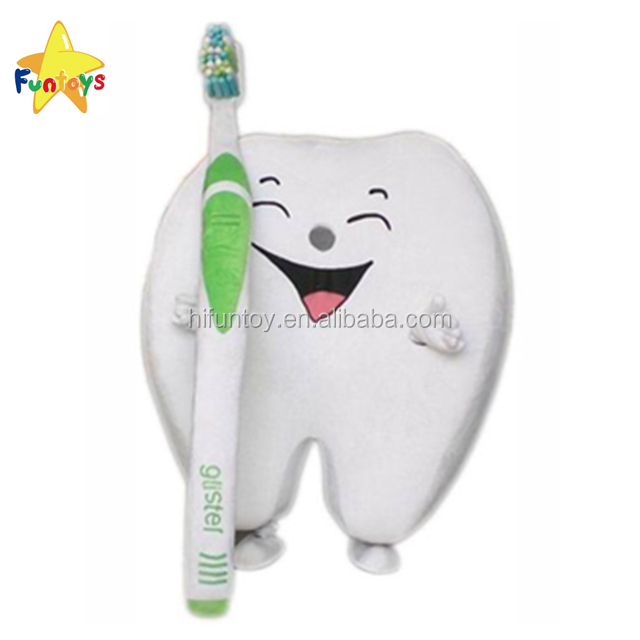 Tooth With Brush Dental Care Dentist Advertising Mascot Costume Party Character
