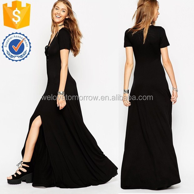 Black satin lace split maxi dress