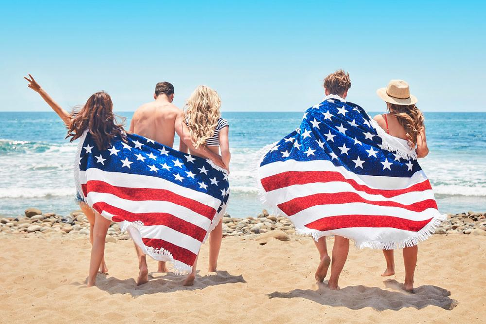 Microfiber American Flag Souvenir Irregular Or Round Beach Towel With Tassels