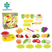 Sgary new hottest pretend play kitchen food plastic cutting fruit and vegetable toy for kids