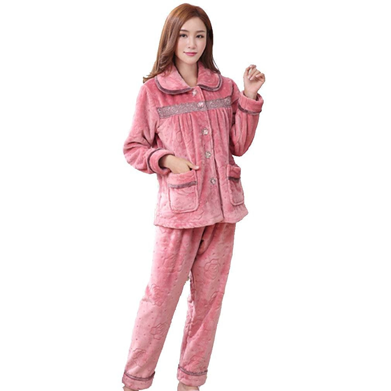 ff858ce23 Get Quotations · moxin Autumn Winter Long Sleeved Women Flannel Thick  Pajamas Coral Fleece Suits Pajama Sets Lovely Pyjamas