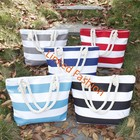 Promotion Design Stripes Canvas Beach Tote Bag in Summer Beach Bag With Rope Handles STOCKS