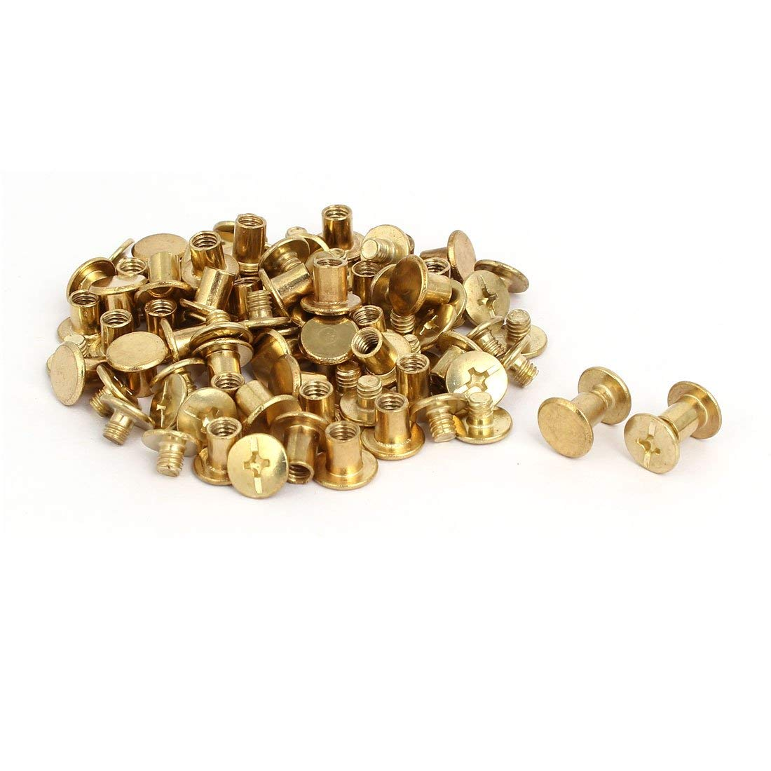 uxcell 5mmx6mm Binding Chicago Screw Posts Nuts Docking Rivets Brass Tone 5pcs
