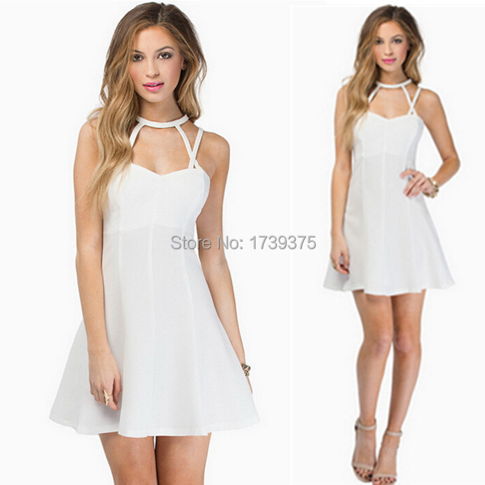 1ba26413c052c Get Quotations · 2015 Women Backless Spaghetti Sexy Mini White Dress Ladies  Straps Slim Plus Size Party Club Casual