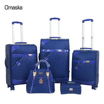 Factory Hot Selling Nice Travel Bags Women Pu Leather Blue 3 Pcs Set 4  Wheels Carry On Suitcase , Buy Leather Suitcase,Travel Luggage