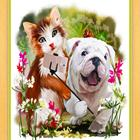 Interesting art diamond painting picture of cat and dog selfie
