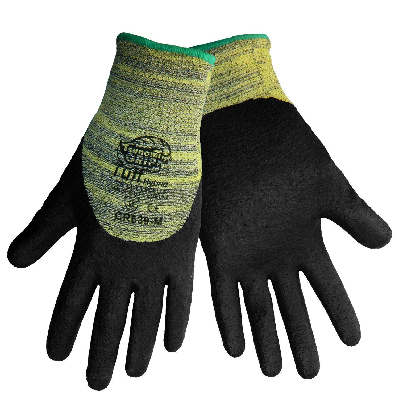 Global Glove CR639 Tsunami Grip Tuff Kevlar Hybrid Glove, Cut Resistant, 2X-Large, Yellow/Black (Case of 72)