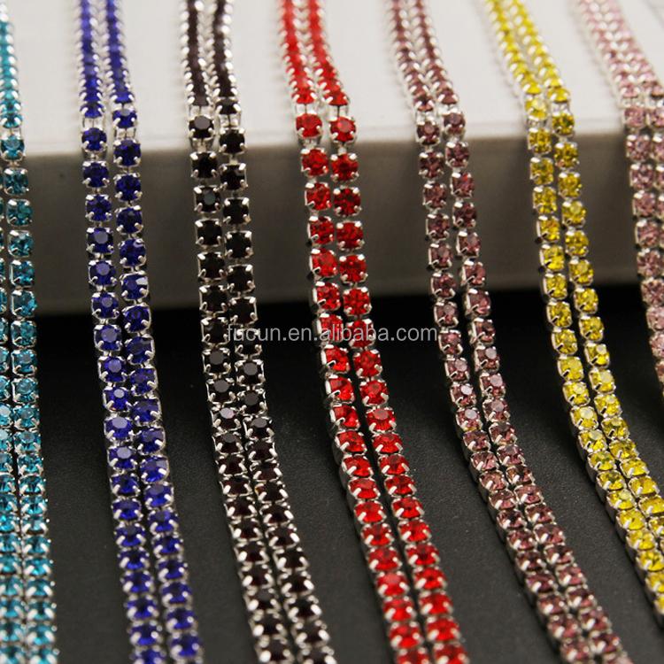 2 rows crystal diamond rhinestone cup chain trimming closed strass chain  chaton cup chain 084d2ccf5fd9
