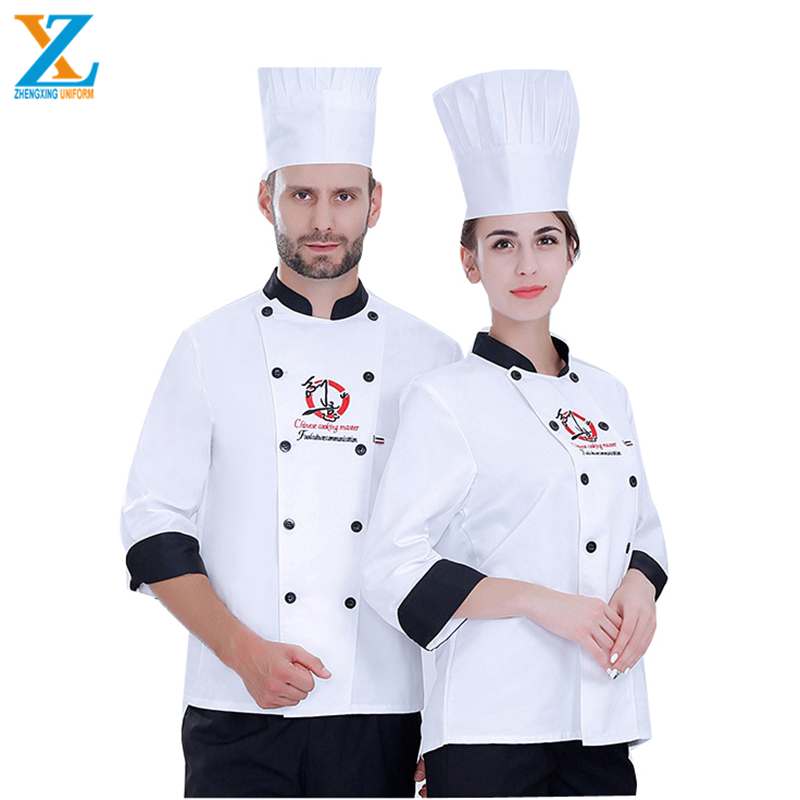Hot sale fashion long sleeve restaurant cooking double-breasted white wine-red black Kitchen Chef Uniform