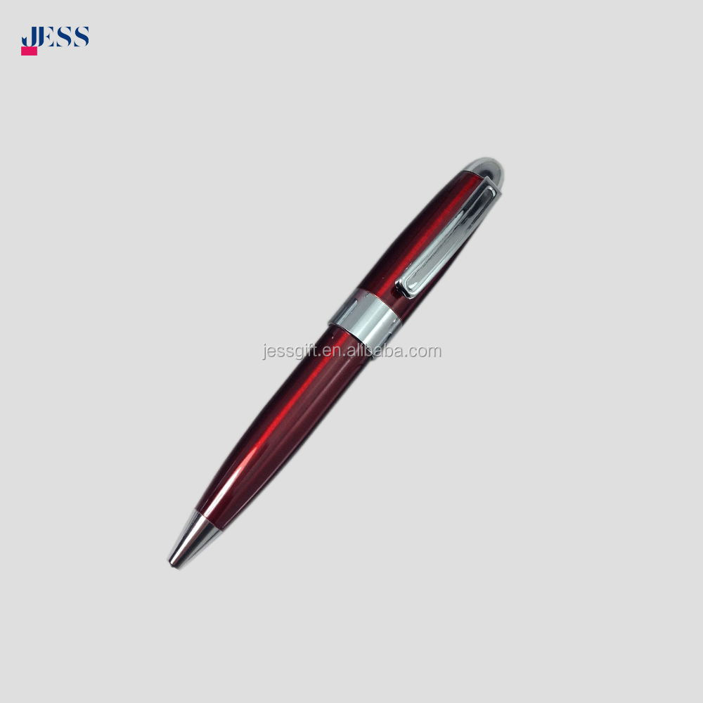 Promotional Twist Metal Pen Shiny Silver Color Short Ballpoint Pen for Hotel office