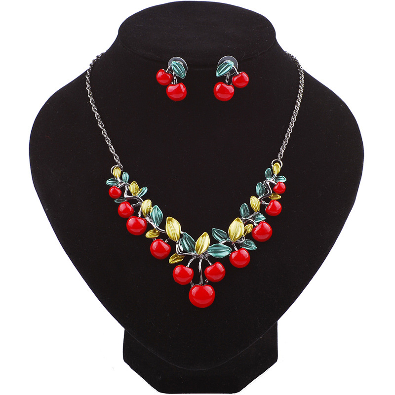 KDA6324 cheap fashion cherry neckalce and earrings jewelry set