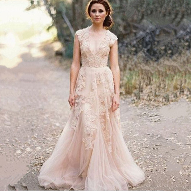 2015 Hot Sale Vintage Lace A Line Wedding Dresses Custom