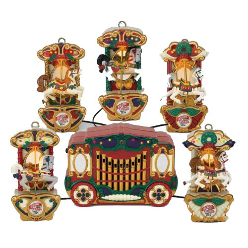 get quotations mr christmas holiday carousel a string of five carousel horses and a control bo