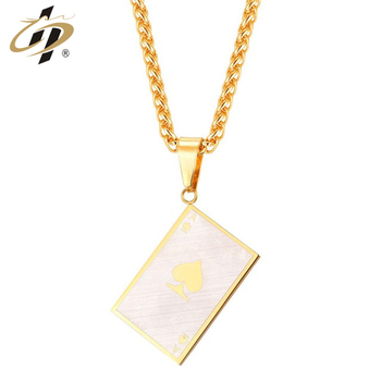Wholesale custom metal poker A gold plated necklace pendant