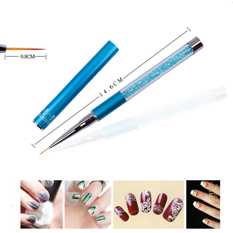 MYLOVE Three colors metal rod nail drawing pen with rhinestone nail polished painted brush