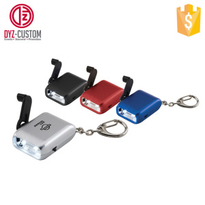 Mini 2Led Hand Crank Dynamo flashlight torch keychain