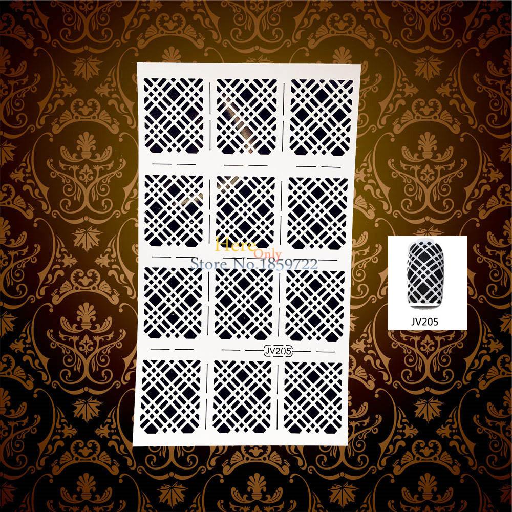 1PC White Nail Hollow Sticker Stencils Polish Airbrush Nail Art Painting Stamping Template Tools HWJV205 Nail