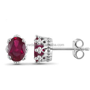 Hot sale the latest product of 925 Sterling Silver Ruby Cubic Zirconia Diamond Solitaire Studs Earrings