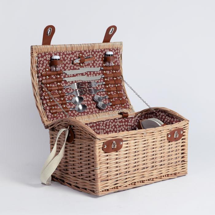 Europa stijl rieten opslag gift 4 persoon picknick mand set