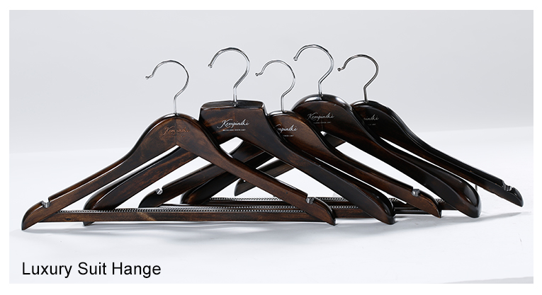 Luxury Custom Logo Unique Heavy Duty Garment Suit Clothes Brown Wooden Hangers Wholesale