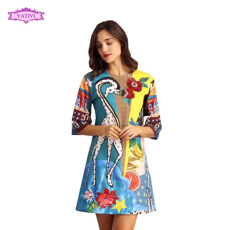 737aa3ac48 Yativi 2018 vestido Otoño Invierno impreso vestido casual diseño de la  venta caliente para las mujeres