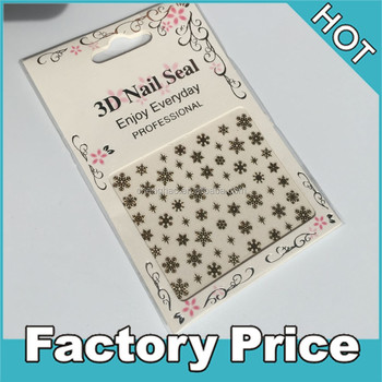 golden 3d snowflake nail art sticker