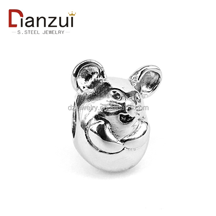 YZ1049 stainless steel mouse emoji charm beads for jewelry making 12 chinese zodiac animals