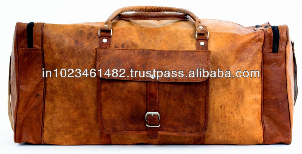 Handmade goat leather vintage luggage bag from india