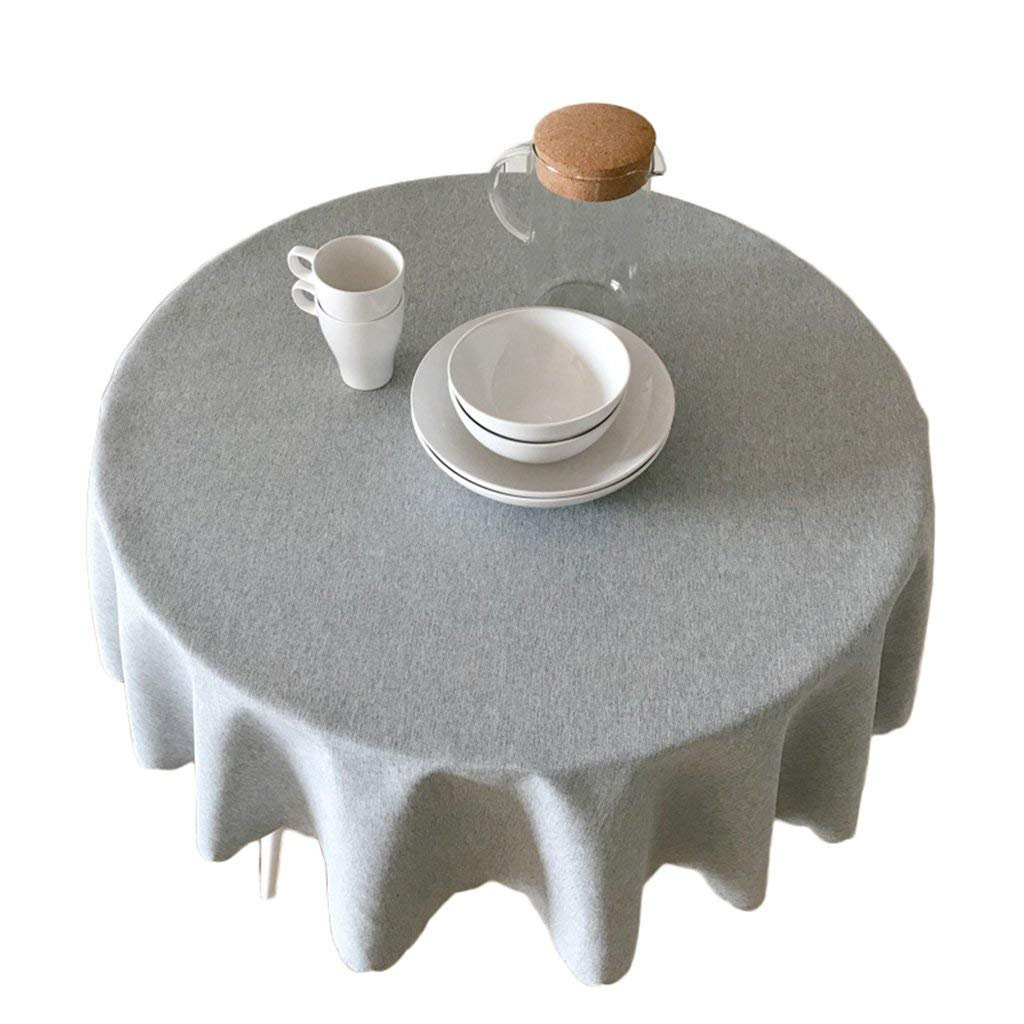 TYJY-tc Solid Color Thick Round Tablecloths, European-style Cotton-linen Fabric, Hotel Home Table Cloth Dust Cloth (Color : Steel gray, Size : 90cm)