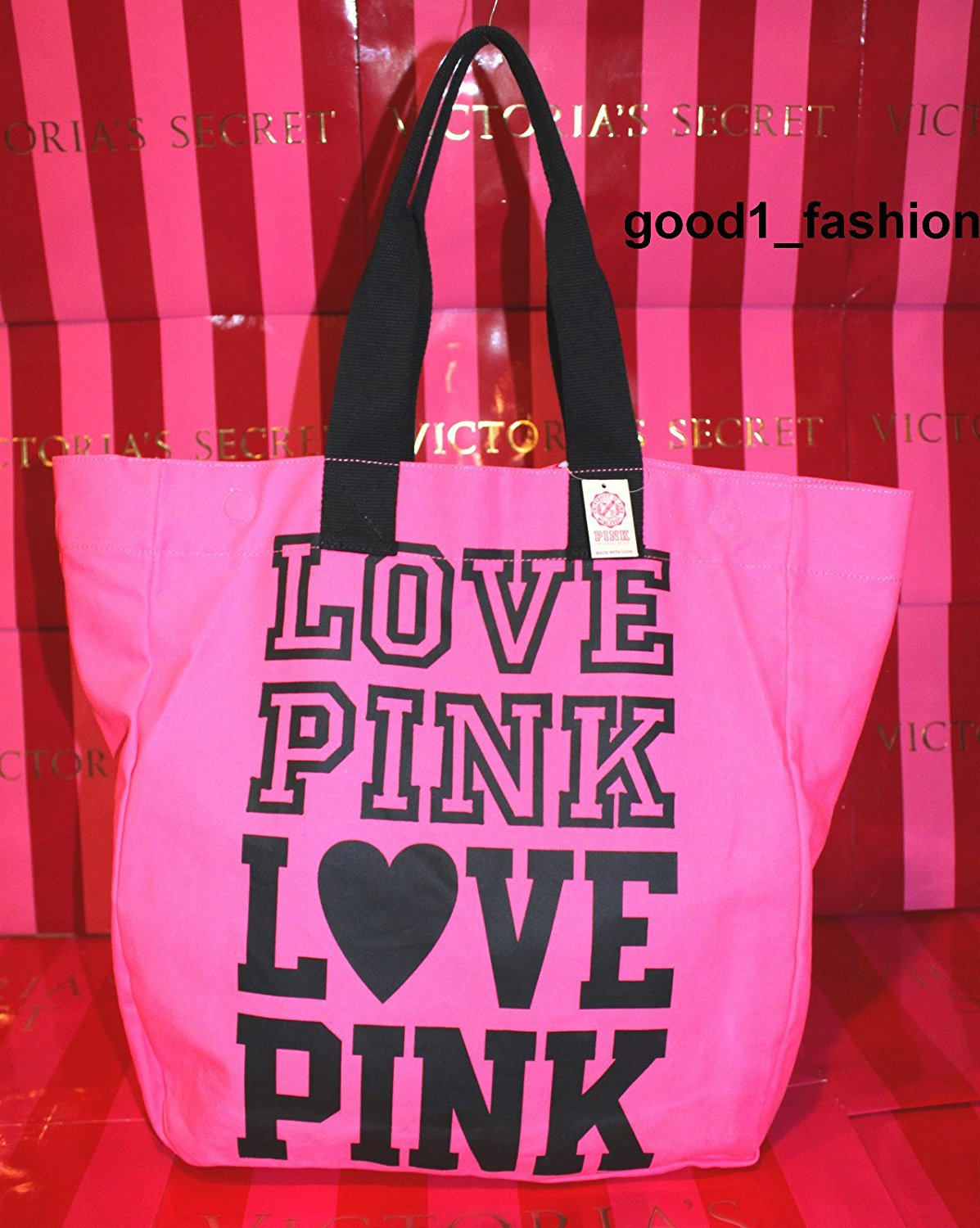 Victoria S Secret Pink Love Signature Slouchy Weekender Canvas Beach Gym Tote Bag