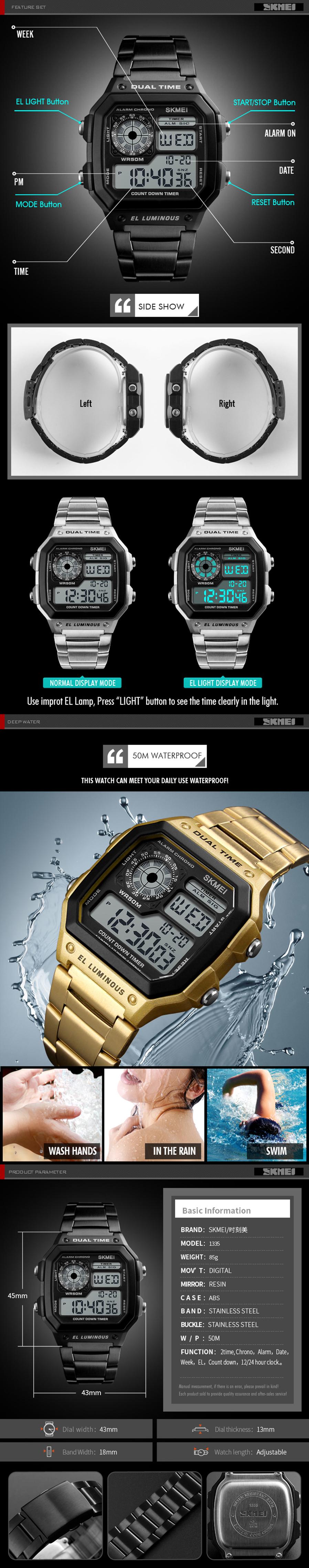 SKMEI 1335 Men Sports Watches Waterproof Mens Watches Top Brand ... e451c060844