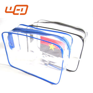 Hot sale cheap clear Plastic pvc camo trolley travel organizer Duffle toiletries bag with zipper