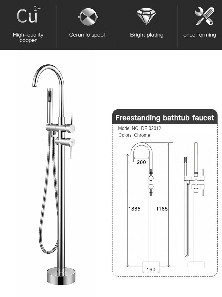 Floor Standing Bathtub Floor Shower Faucet With Handheld Shower