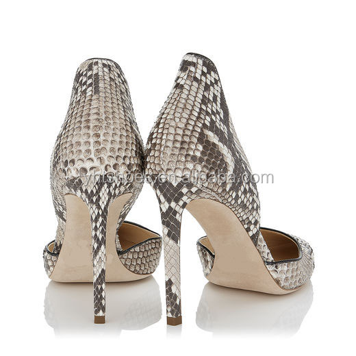 dress comfort women lady footwear Luxury pointed pumps Python shoe heel boutique leather lady high toe qzXTH
