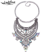 Barlaycs 2016 AB Colorful Gem Crystal Luxury necklace Vintage Chunky Necklaces & pendants Maxi Statement Collier Femme Boho Neck