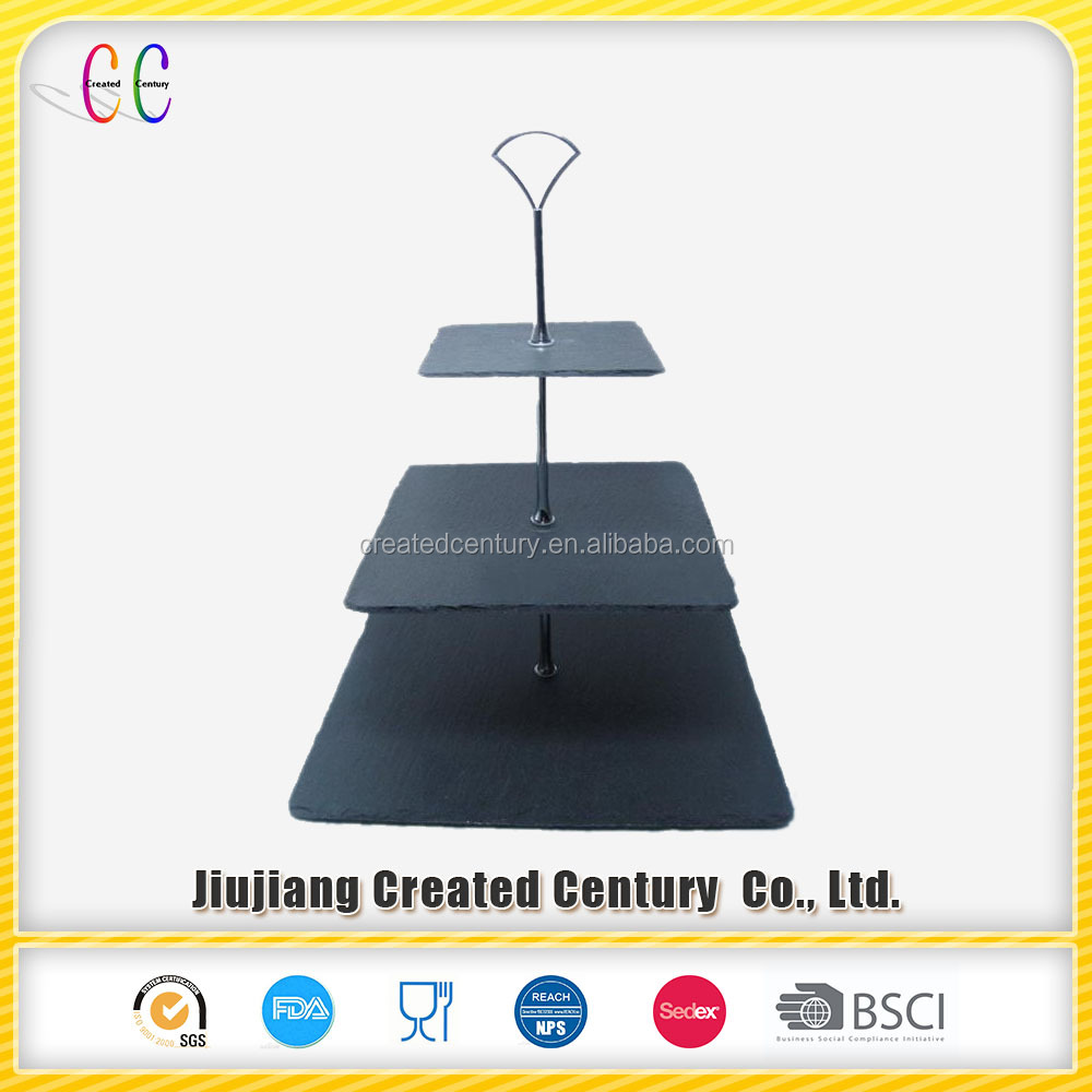 Unique decorative square 3 tier slate cake plate for wedding