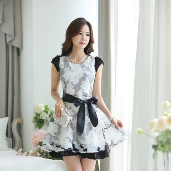 dcb4b307b9ea19 WA1197 2015 summer new Women Korean brand fresh burst models print sleeveless  lace dress skirt