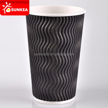 SUNKEA Popular Disposable ripple paper cup,Wholesale wave ripple wall paper cup