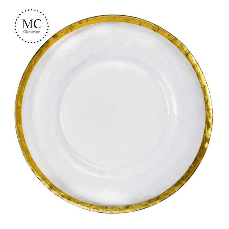 Wholesale 13 inches round gold rim glass wedding dinner charger plate